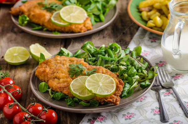 True Viennese schnitzel Stock photo © Peteer
