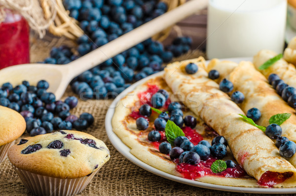 Blueberry muffins and pancakes Stock photo © Peteer