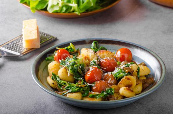 Foto stock: Espinacas · ajo · tomates · foto · publicidad · alimentos