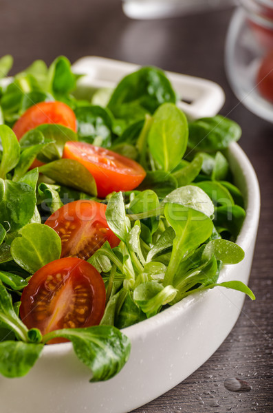 Lamb lettuce salad, tomatoes and herbs Stock photo © Peteer