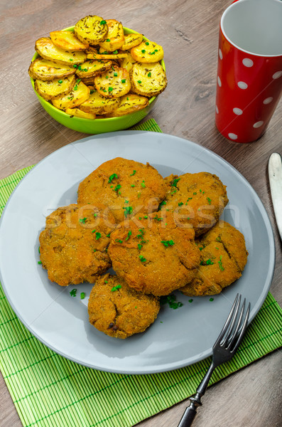 Crispy breaded mushroom schnitzel Stock photo © Peteer