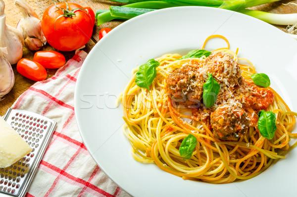 Nowy Jork klopsiki makaronu sos pomidorowy bio Zdjęcia stock © Peteer