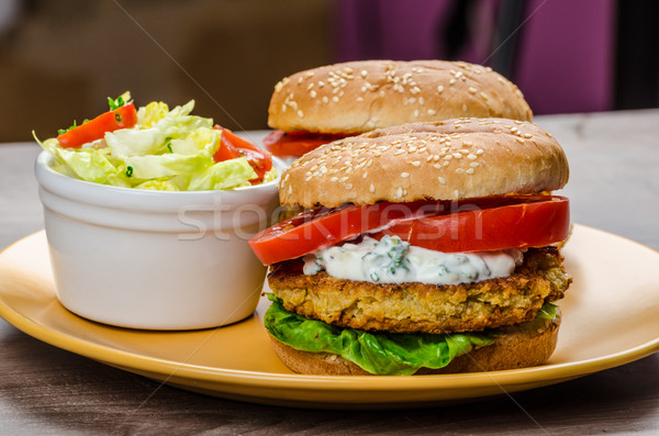 Vegetarian chickpea burger Stock photo © Peteer