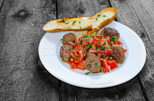 ミートボール 辛い トマト サルサ ストックフォト © Peteer
