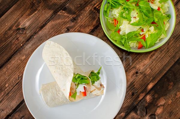 トルティーヤ 鶏 チキンサラダ パプリカ 食品 木材 ストックフォト © Peteer