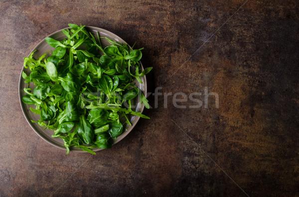 Taze salata biyo kuzu marul sağlık Stok fotoğraf © Peteer