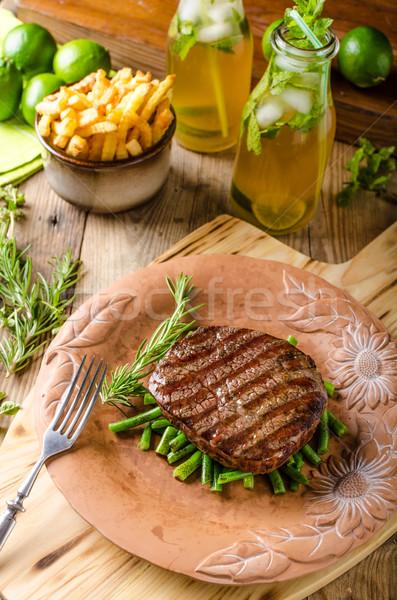 Stockfoto: Rundvlees · lendenen · biefstuk · eigengemaakt · limonade · Rood