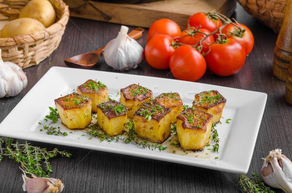 Stockfoto: Aardappel · knoflook · kruiden · eenvoudige · maaltijd · vis