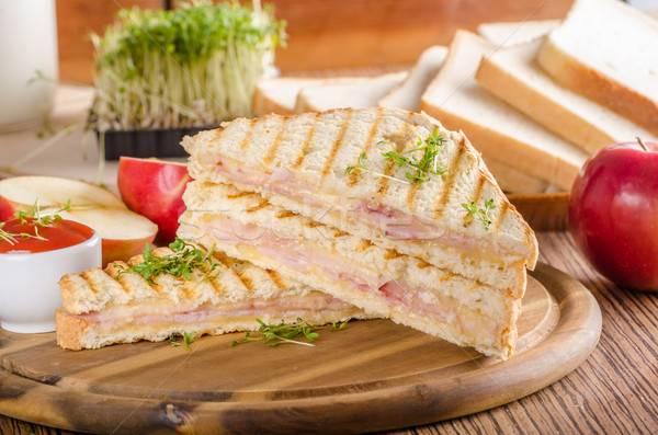 Panini cheese ham toast, fresh apple sandwitch Stock photo © Peteer
