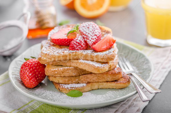 French toast with strawberries Stock photo © Peteer