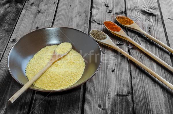 Spice cucchiaio ciotola couscous legno foglia Foto d'archivio © Peteer