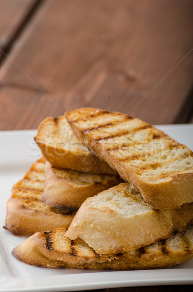 Garlic toast, mini baguettes, fresh and fragrant Stock photo © Peteer