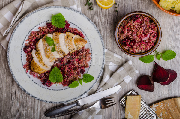 Chicken steak with buckwheat porridge Stock photo © Peteer