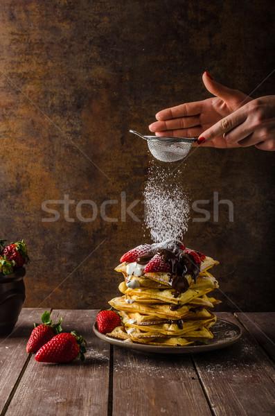 Origineel aardbeien chocolade ijs plaat aardbei Stockfoto © Peteer