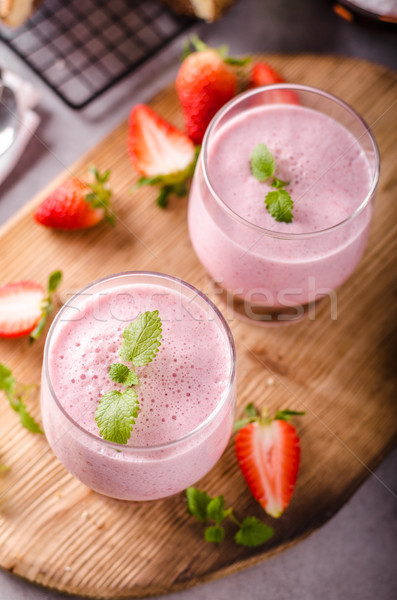 Strawberries milkshake summer drink Stock photo © Peteer