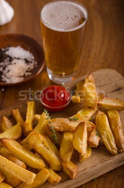 домашний картофель фри органический кетчуп продовольствие фотографии Сток-фото © Peteer