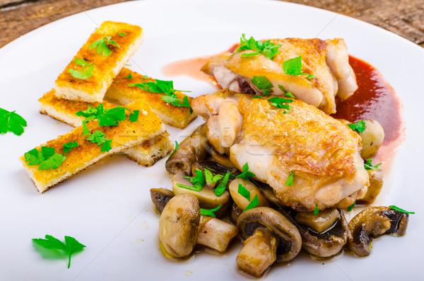 Kipfilet rode wijn champignons kruid voedsel ei Stockfoto © Peteer