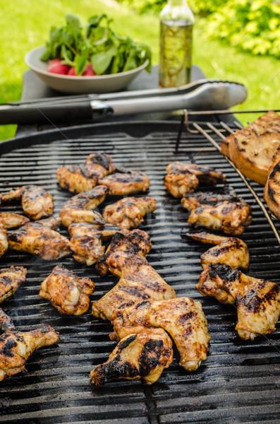 照り焼き 鶏 翼 ガーリックブレッド ハーブ 食品 ストックフォト © Peteer