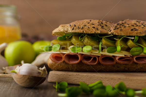 Baguette with the Prague ham Stock photo © Peteer
