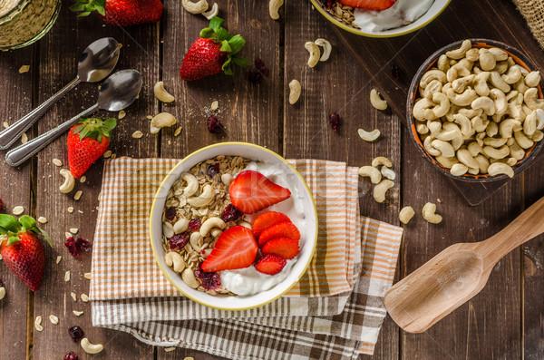 Kása joghurt friss diók eprek egészséges Stock fotó © Peteer