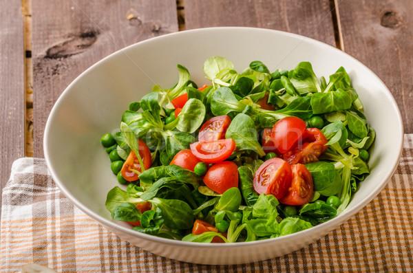 Cordero lechuga ensalada tomate sabroso simple Foto stock © Peteer