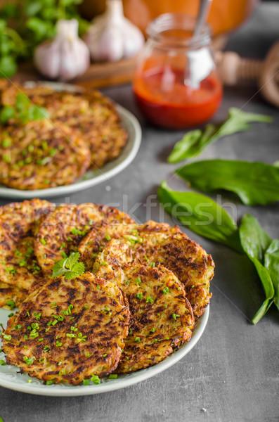 Stock photo: Potato pancakes fried with garlic