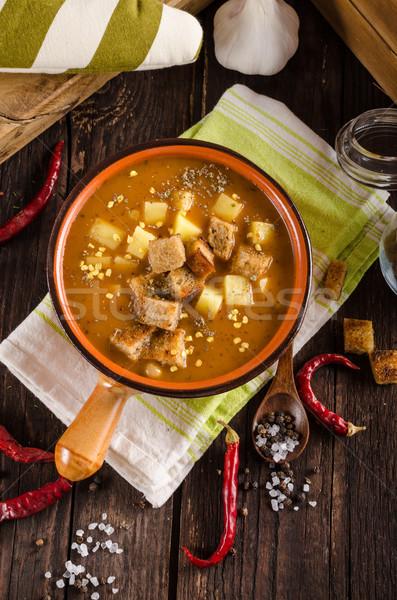 çorba patates gıda fotoğrafçılık ahşap arka plan Stok fotoğraf © Peteer