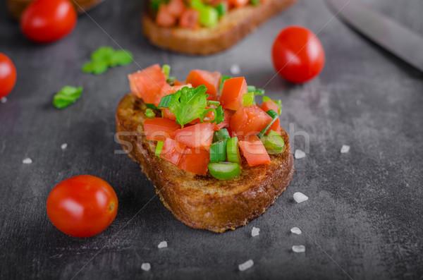 Fransız sarımsak tost sebze salata gıda Stok fotoğraf © Peteer