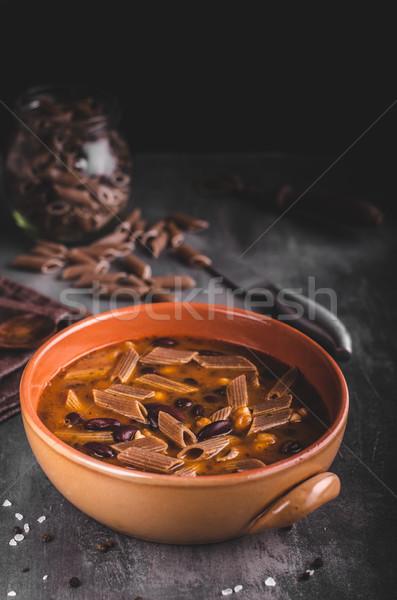ストックフォト: パスタ · スープ · 食品 · 写真 · 単純な · 木材