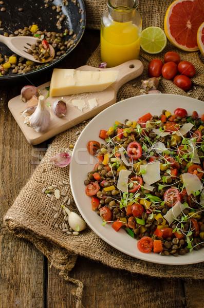 Warm salad of lentils, bio healthy Stock photo © Peteer