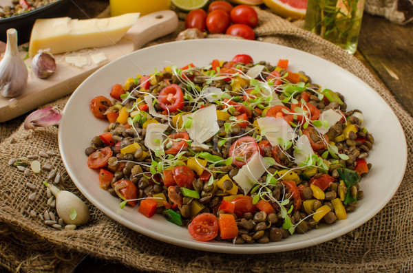 Warm salad of lentils, bio healthy Stock photo © Peteer