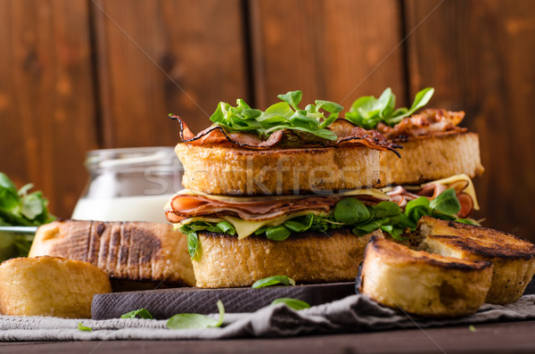 French toast with homemade ham, gouda cheese Stock photo © Peteer
