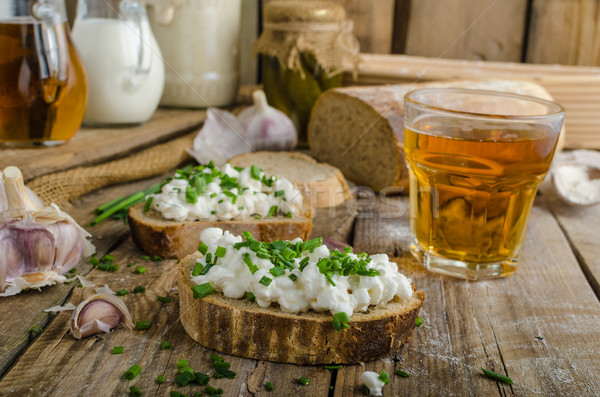 Photo stock: Maison · pain · fraîches · fromages · ail · table