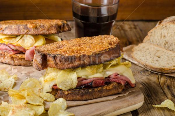 Fransız tost tuzlu stil et cips Stok fotoğraf © Peteer