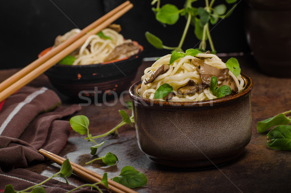 Chinese noodles with mushrooms Stock photo © Peteer
