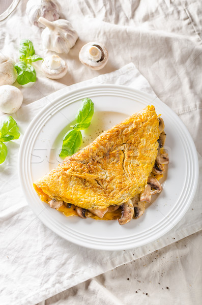 Rustic omelet with mushrooms Stock photo © Peteer