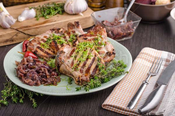 Photo stock: Grillés · porc · oignon · herbes · alimentaire · vert