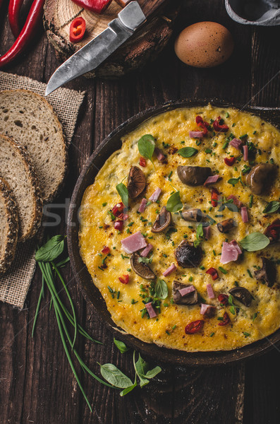 Fresh omelette, pickles mushrooms and chilli Stock photo © Peteer