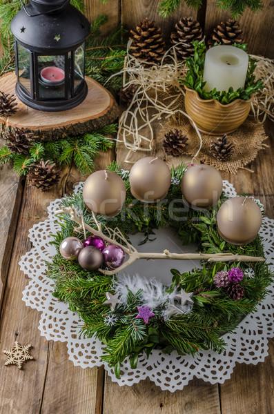 Weihnachten Aufkommen Kranz hausgemachte schönen Geschenk Stock foto © Peteer