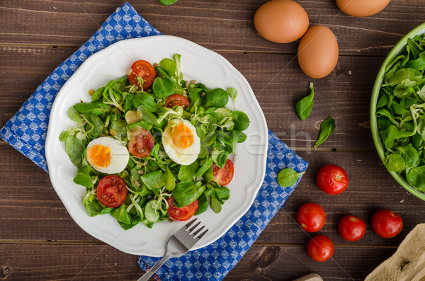 Marul salata yumurta domates bal hardal Stok fotoğraf © Peteer