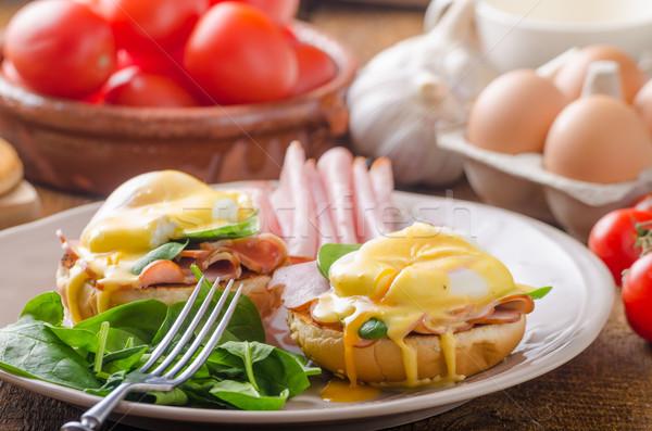 Huevo jamón espinacas alimentos fondo mesa Foto stock © Peteer