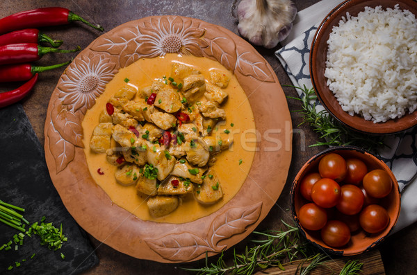 Foto stock: Caril · de · frango · ervas · fresco · pimenta · delicioso