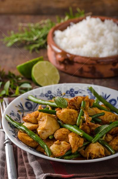 Keverés tyúk bab fehér rizs zöld Stock fotó © Peteer