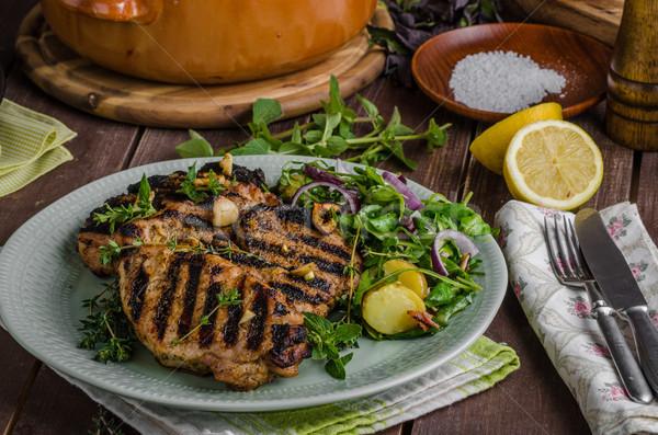 焼き 豚肉 レタス サラダ 食事 背景 ストックフォト © Peteer