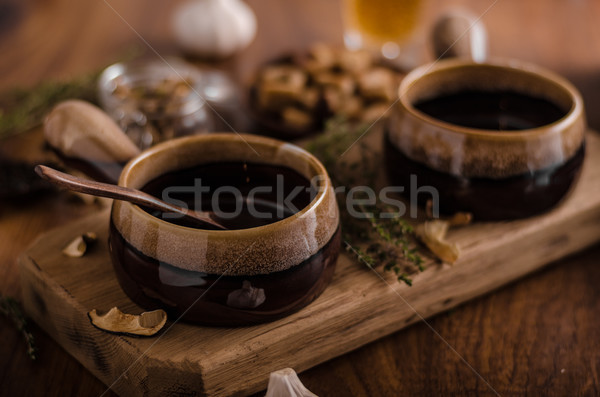Stock photo: Rustic mushrooms soup