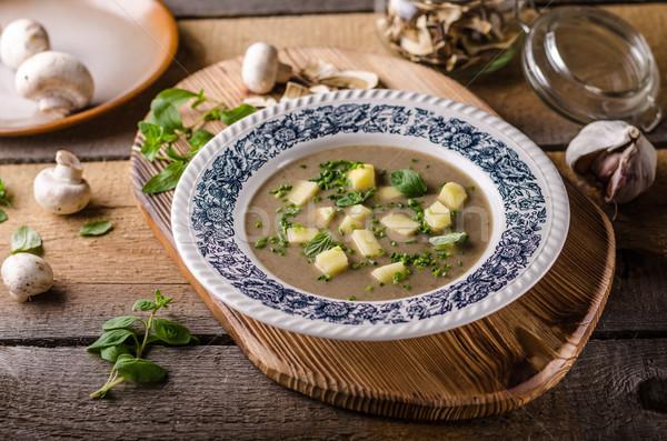 Stock photo: Potato mushrooms garlic soup