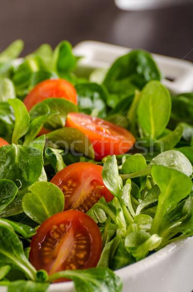 Bárány saláta saláta paradicsomok gyógynövények étel Stock fotó © Peteer