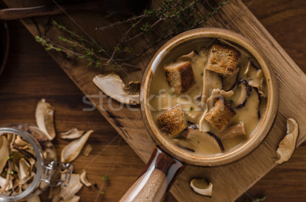 Rustic mushrooms soup Stock photo © Peteer