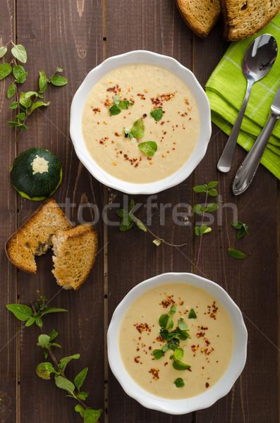 Krémes cukkini leves chilli oregano ropogós Stock fotó © Peteer
