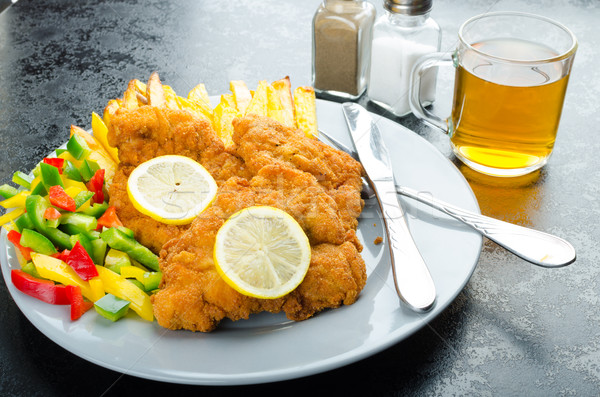 Schnitzel with french fries Stock photo © Peteer